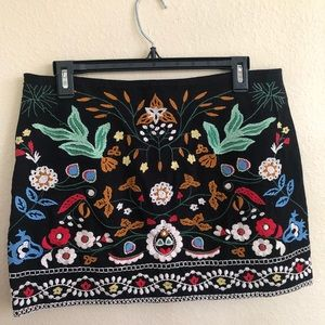 Zara Colorful Embroidered Black Skirt